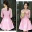 ชุดเดรสสวยๆ ตัวเสื้อผ้าถักโครเชต์ลายดอกไม้ สีชมพู แขนยาว thumbnail 4