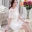 ชุดเดรสสั้น แฟชั่นเกาหลี เดรสผ้าปักสีขาว สวยหวาน ทรงตรง ซิบด้านหลังลำตัว มีซับใน thumbnail 3