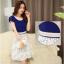 ชุดเดรสสวยๆ ตัวเสื้อผ้าชีฟองสีน้ำเงิน ปลายแขนเสื้อจั๊ม ซิบด้านหลังลำตัว thumbnail 2