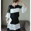 เสื้อพร้อมกระโปรงลาย ขาวดำ สวยน่ารักมากๆ thumbnail 4