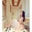 ชุดเดรสสวยๆ ตัวชุดเป็นผ้ามุ้ง สีชมพู เย็บซ้อนด้วยผ้าปักลายใบไม้ เข้ารูปช่วงเอว thumbnail 8