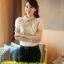 เสื้อผ้าเกาหลี Style good you เสื้อผ้าลูกไม้ สีครีมทอง แต่งระบายที่หน้าอก แขนตุ๊กตา คอติด มีซับในสวยเหมือนแบบครับ (เนื้อผ้าดี เกรด A) พร้อมส่ง thumbnail 6