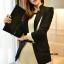 เสื้อสูทเกาหลี Rui Ri เสื้อสูทผ้าคอตตอนผสม เนื้อดีสีดำ ปกเสื้อ และปลายแขนเสื้อเย็บผสมกับผ้าสีขาว พร้อมส่ง thumbnail 1