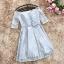 ชุดราตรีสั้น ตัวเสื้อผ้าลูกไม้เนื้อดีสีเทา แขนยาวสามส่วน เปิดไหล่ thumbnail 9