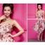 เดรสเกาหลี ชุดราตรียาว เกาะอก แฟชั่นใส่ไปงานแต่งงาน ผ้าชีฟอง พื้นสีเบจลายดอกไม้สีชมพูเขียว ใส่ออกงาน น่ารัก สวยมากๆ จ้า thaishoponline (พร้อมส่ง) thumbnail 2