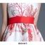 ชุดเดรสสายเดี่ยว ผ้าคอตตอนผสมพื้นสีขาวพิมพ์ลายดอกไม้สีแดง thumbnail 9