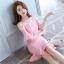 ชุดเดรสเกาหลี ผ้าโพลีเอสเตอร์ผสมสีชมพู สายเดี่ยว เปิดไหล่ thumbnail 7