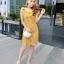 ชุดเดรสสวยๆ ผ้าถักรูปดอกไม้ สีเหลืองมัสตาร์ต เดรสทรงตรง เข้ารูปช่วงเอว thumbnail 8