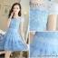ชุดเดรสเกาหลี ผ้าไหมแก้ว สีฟ้า ปักด้วยด้ายลายดอกไม้ มีซับใน สวยมากๆ thumbnail 5