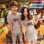 ชุดคู่รัก เสื้อยืดและเดรส สีเทา ผ้า Cotton 100% เนื้อดีเยี่ยม thumbnail 2