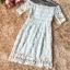 ชุดเดรสสวยๆ ผ้าลูกไม้ถักลายดอกไม้ สีฟ้าอ่อน แขนยาวสามส่วน thumbnail 7