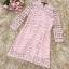 ชุดเดรสสวยๆ ผ้าถักโครเชต์สีชมพู คอจีน เดรสเข้ารูปช่วงเอว กระโปรงทรงเอ thumbnail 10