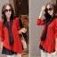 เสื้อผ้าไหมพรม แฟชั่นเกาหลี เนื้อบาง แขนยาว สีแดง thumbnail 4