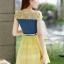 ชุดเดรสสวยๆ เดรสตัวเสื้อผ้ายีนส์ อกและไหล่ผ้าลูกไม้แบบนิ่มสีเหลือง ยืดหยุ่นได้ดี กระโปรงผ้าไหมแก้วสีเหลือง thumbnail 6