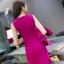 ชุดเดรสแขนกุด ผ้าคอตตอนผสม spandex ยืดหยุ่นได้ดี สีชมพู ทรงตรง thumbnail 3