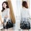 ชุดเดรสเกาหลีออกงาน ตัวเสื้อผ้าถักสีขาว แขนยาว กระโปรงผ้าชีฟองสีดำ พร้อมสร้อยคอ thumbnail 4