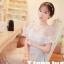 ชุดเดรสสวยๆ ผ้าไหมแก้ว สีขาว ปักลายดอกไม้สีขาว thumbnail 5