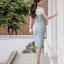 ชุดเดรสเกาหลี ผ้าโพลีเอสเตอร์ผสม สีฟ้า ไหล่และคอเสื้อเป็นผ้าชีฟองเนื้อหนาสีขาว ไหล่ป้าน thumbnail 8