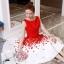 ชุดเดรสเกาหลี ผ้าโพลีเอสเตอร์สีแดง แขนกุด ช่วงเอว คาดด้วยผ้าริบบิ้นสีแดง thumbnail 3