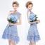ชุดเดรสสวยๆ ผ้าถักลายดอกไม้ เนื้อแน่นละเอียด สีฟ้า thumbnail 5