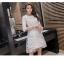 ชุดเดรสสวยๆ ตัวชุดผ้าโปร่งเนื้อละเอียด ตัวผ้าเดินเส้นผ้าริบบิ้นสีขาวโค้งหยักตามแบบ thumbnail 7