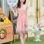 ชุดเดรสสุดหรู ตัวเสื้อผ้าถัก ลายดอกไม้ สีชมพูโอรส thumbnail 4