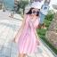 ชุดเดรสผ้าชีฟอง สีชมพูโอรส แขนกุด คอวี thumbnail 8