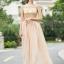 ชุดเดรสยาว ตัวเสื้อผ้าลูกไม้ สีครีม ปักด้วยด้ายสีเหลือบทอง thumbnail 2