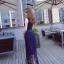 ชุดเดรสยาว สีน้ำเงิน ตัวเสื้อเป็นแถบผ้ายืดมีลายในตัว เย็บไขว้กันตามแบบ thumbnail 3