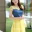 ชุดเดรสสวยๆ เดรสตัวเสื้อผ้ายีนส์ อกและไหล่ผ้าลูกไม้แบบนิ่มสีเหลือง ยืดหยุ่นได้ดี กระโปรงผ้าไหมแก้วสีเหลือง thumbnail 2