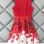 ชุดเดรสเกาหลี ผ้าโพลีเอสเตอร์สีแดง แขนกุด ช่วงเอว คาดด้วยผ้าริบบิ้นสีแดง thumbnail 8