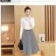 เสื้อผ้าแฟชั่นเกาหลี set เสื้อสีขาว และกระโปรงลายทางขาวดำ thumbnail 2