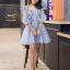 ชุดเดรสสวยๆ ผ้าไหมแก้ว organza เนื้อทรายสีฟ้า คอวี thumbnail 3