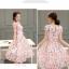 ชุดเดรสชีฟอง ผ้าเนื้อดี มีลายเส้นในตัว พื้นสีขาว พิมพ์ลายดอกไม้โทนสีชมพู thumbnail 5