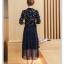 ชุดเดรสแฟชั่น ผ้าโพลีเอสเตอร์พื้นสีน้ำเงิน พิมพ์ลายใบไม้หลากสี แขนยาว thumbnail 8