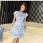 ชุดเดรสสวยๆ ผ้าลูกไม้ สีฟ้า เย็บทอผสมกับผ้าถักโครเชต์ที่ช่วงไหล่ thumbnail 7
