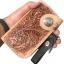 กระเป๋าสตางค์หนังวัวแท้ ลวดลายช่อไม้ ขนาดเล็กกระทัดรัด แปลกใหม่ ไม่เหมือนใคร รูปทรงสไตน์ Cowboy thumbnail 2