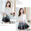 ชุดเดรสเกาหลีออกงาน ตัวเสื้อผ้าถักสีขาว แขนยาว กระโปรงผ้าชีฟองสีดำ พร้อมสร้อยคอ thumbnail 5