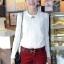 เสื้อแฟชั่น เสื้อเกาหลี เสื้อทำงาน ด้านหน้าเป็นผ้าลูกไม้ คอกลม เสื้อเป็นผ้ามัน ประดับพลอยที่คอ ซิปหลังครึ่งตัว เสื้อสีขาว สวยมากๆ (พร้อมส่ง) thumbnail 2