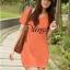 (Sale สกรีนบางจุดไม่คมชัด) เสื้อยืดเกาหลี ตัวยาว ลาย Virgo สีส้ม thumbnail 1