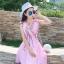 ชุดเดรสผ้าชีฟอง สีชมพูโอรส แขนกุด คอวี thumbnail 9