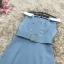 ชุดเดรสเกาหลี ผ้าคอตตอนผสมสีฟ้าเข้ม คอปกสีขาว ไหล่ป้าน เดรสทรงตรงสอบ thumbnail 13