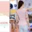 เสื้อแฟชั่นเกาหลี เสื้อผ้าชีฟองสีชมพู แขนเสื้อผ้าชีฟองลายดอกไม้ โทนสีแดง มาพร้อมเข็มกลัดสร้อยคอมุกสีขาว thumbnail 6