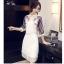 ชุดเดรสแฟชั่น ผ้าไหมแก้ว organza สีขาว thumbnail 5