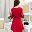 ชุดเดรสสวยๆ ผ้าคอตตอนผสม spandex เนื้อนุ่ม สีแดง แขนยาว thumbnail 12