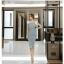 ชุดเดรสเกาหลี ผ้าคอตตอนผสมสีฟ้าเข้ม คอปกสีขาว ไหล่ป้าน เดรสทรงตรงสอบ thumbnail 11