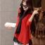 เสื้อผ้าไหมพรม แฟชั่นเกาหลี เนื้อบาง แขนยาว สีแดง thumbnail 2