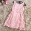 ชุดเดรสผ้าลูกไม้ ปักลายดอกไม้ปักสีชมพูโอรส แขนกุด เดรสเข้ารูปช่วงเอว thumbnail 10