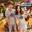 ชุดคู่รัก เสื้อยืดและเดรส สีเทา ผ้า Cotton 100% เนื้อดีเยี่ยม thumbnail 3