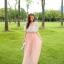 แมกซี่เดรสยาว ผ้าชีฟองเนื้อดี สีชมพูโอรส thumbnail 4